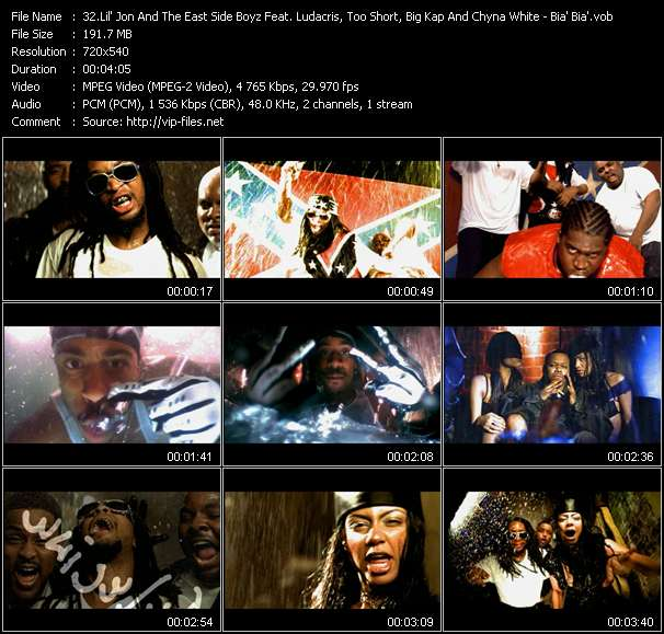 Lil' Jon And The East Side Boyz Feat. Ludacris, Too Short, Big Kap And Chyna White Video Clip(VOB) vob