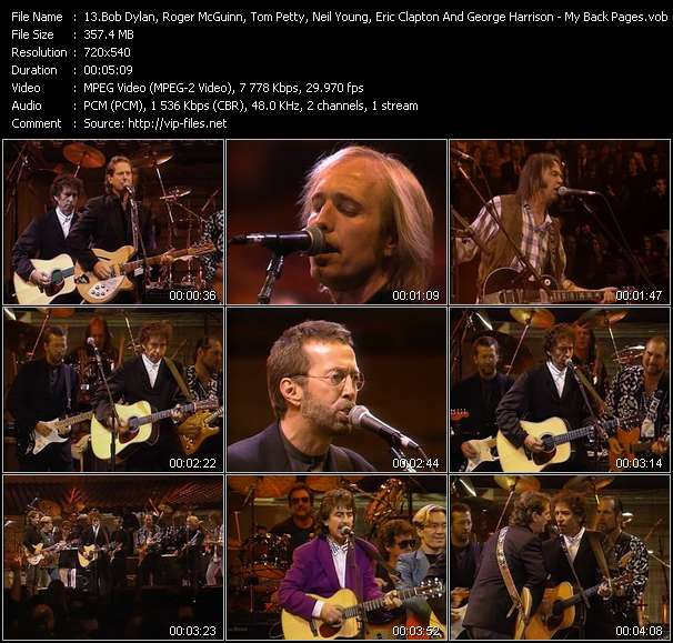 Bob Dylan, Roger McGuinn, Tom Petty, Neil Young, Eric Clapton And George Harrison Video Clip(VOB) vob