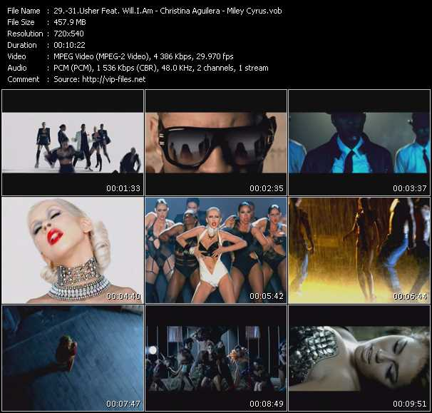 Usher Feat. Will.I.Am - Christina Aguilera - Miley Cyrus Video Clip(VOB) vob