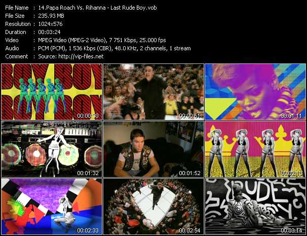 Papa Roach Vs. Rihanna Video Clip(VOB) vob